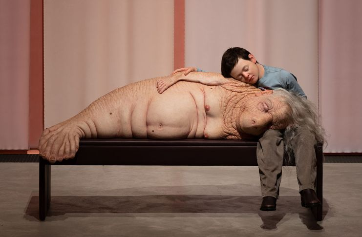 Patricia Piccinini, The Long Awaited, 2008, silicone, fibreglass, human hair, plywood, leather, clothing. Installation photo from ARKEN Museum of Modern Art. Photo David Stjernholm