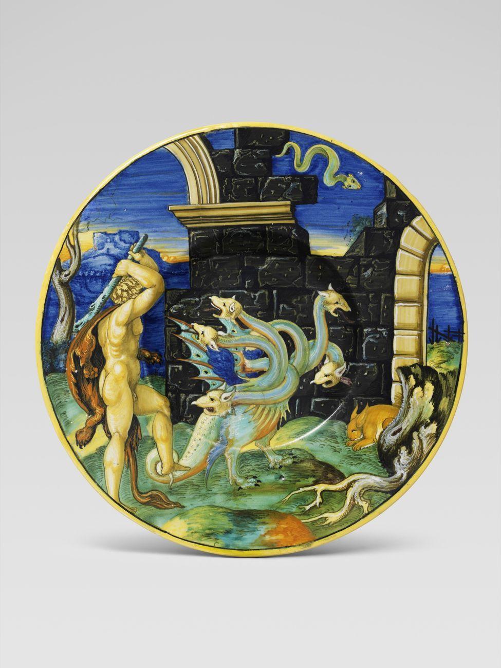Piatto, Ercole e l'idra, Francesco Xanto Avelli, Urbino, 1530 ca. Collezione privata