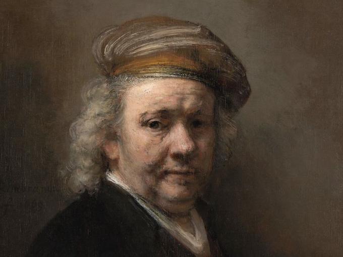 Rembrandt van Rijn, Autoritratto, 1669. Mauritshuis, L'Aia. Acquisito con il supporto della Rembrandt Association e di privati, 1947 - dettaglio