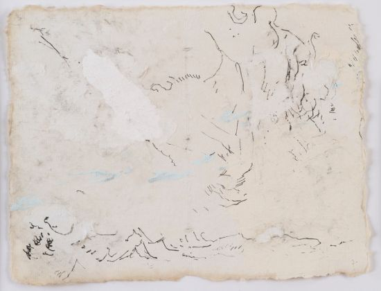Lawrence Carroll Untitled 2014 – 2017 House paint, ink and silverpoint on paper 14 x 18 cm / 5 1/2 x 7 in Frame: 44,5 x 48,3 x 3,2 cm Signed, dated and inscribed verso upper right: Lawrence Carroll, 2014 – 2017, Bolsena LC/P 26 © Lucy Jones Carroll Courtesy Galerie Karsten Greve Köln Paris St. Moritz