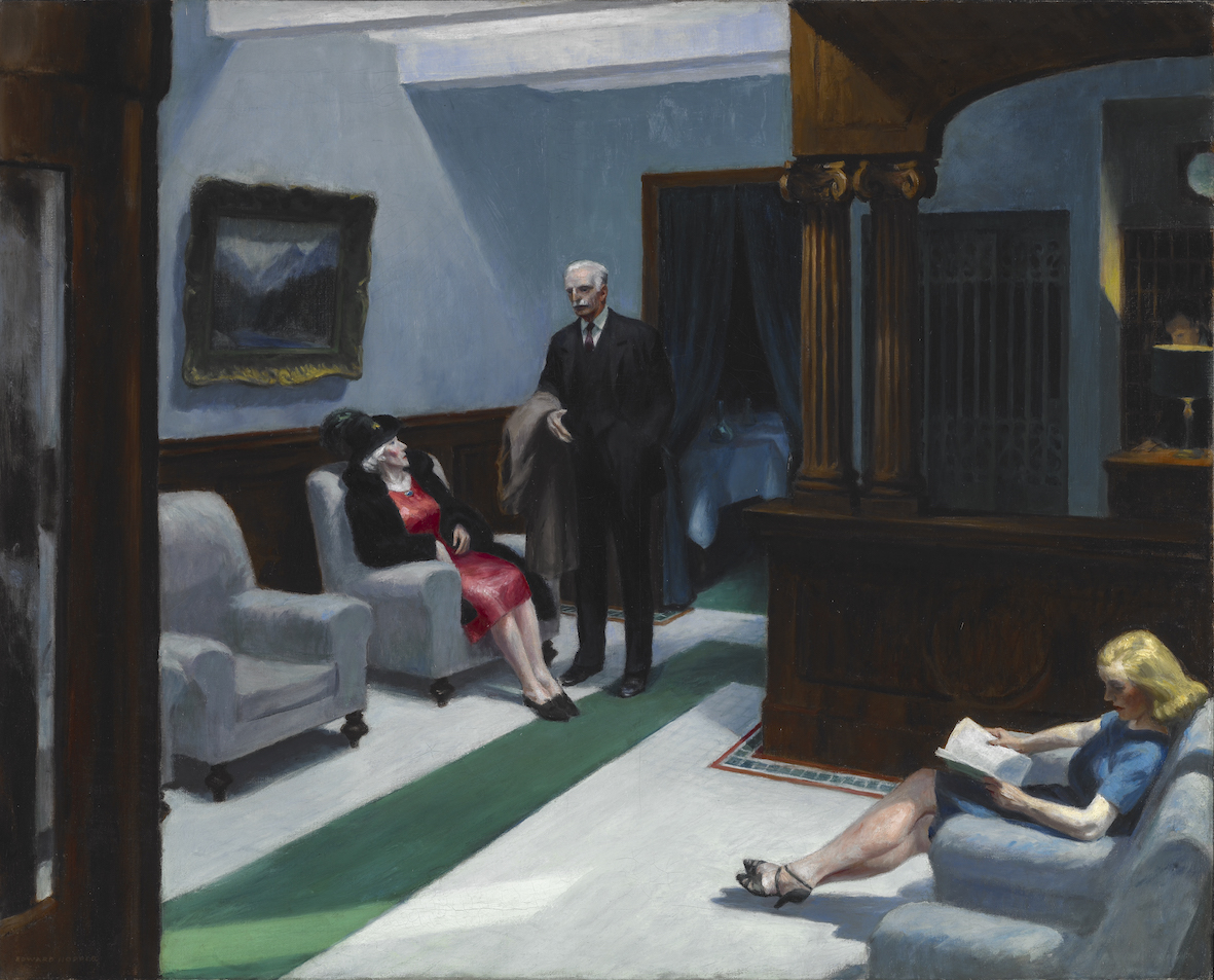 Hotel Lobby, 1943, Edward Hopper (American, 1882–1967), oil on canvas. Indianapolis Museum of Art at Newfields, William Ray Adams Memorial Collection, 47.4 © 2019 Heirs of Josephine N. Hopper / Artists Rights Society (ARS), NY