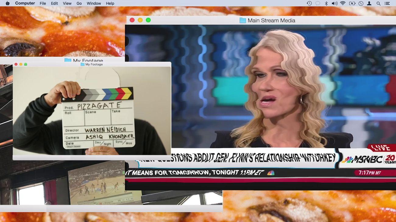 Warren Neidich, Pizzagate From Rumor to Delusion, 2019, video still. Courtesy the Artist