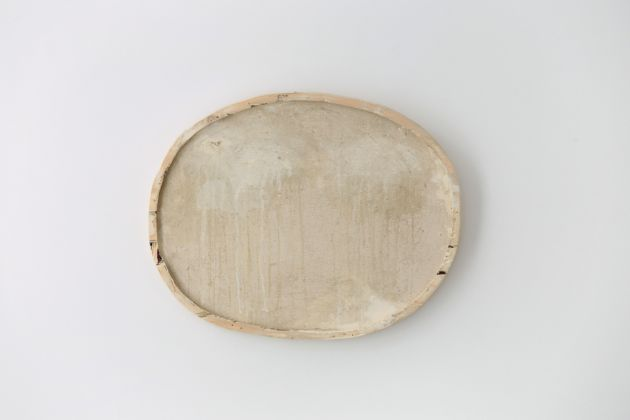 Lawrence Carroll White Oval Paintings 2015 – 2017 House paint and dust on canvas on wood 34 x 44 x 2.5 cm / 13 1/2 x 17 1/3 x 1 in Signed and dated verso middle: Lawrence Carroll 2015 – 2017 © Lucy Jones Carroll Courtesy Galerie Karsten Greve Köln Paris St. Moritz