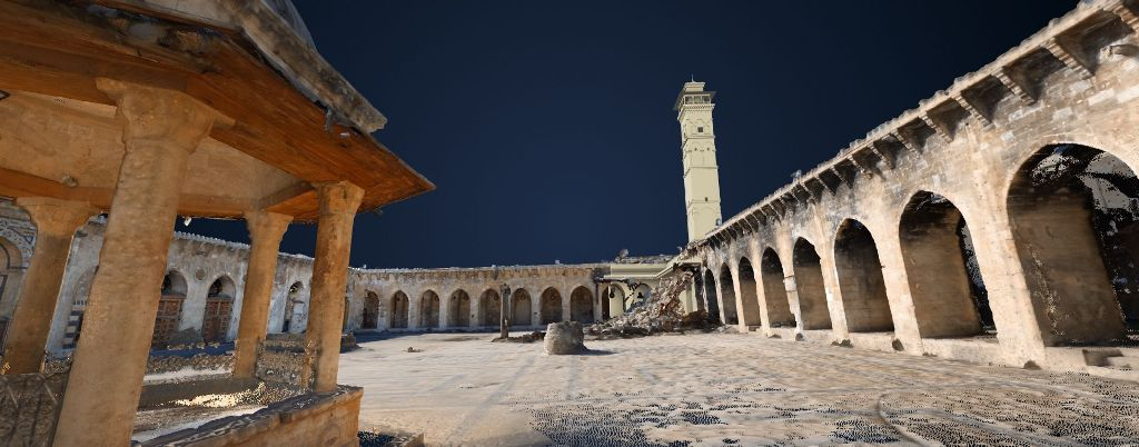 3D image of the minaret of the Umayyad-Mosque in Aleppo, Syria © ICONEM / DGAM