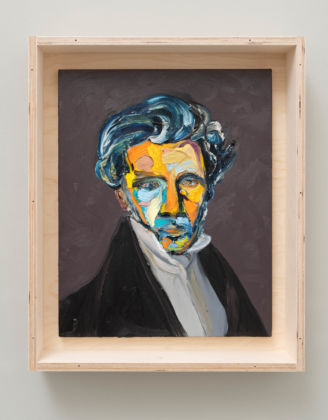 Matteo Fato, Il presentimento di altre possibilità / A sense of other possibilities (ritratto di / portrait of Søren Aabye Kierkegaard, filosofo e teologo / philosopher and theologian, Copenaghen, 1813 - 1855), 2019 olio su lino / oil on linen, 39 x 49 cm cassa da trasporto in multistrato / case for transport in plywood Courtesy dell'Artista / the Artist & Monitor, Rome - Lisbon - Pereto (AQ)