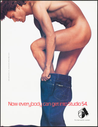 Gordon Munro and Peter Rogers (1934–) for Studio 54 (Nightclub). Now everybody can get into Studio 54, circa 1980. Poster, 22 x 17 in. (55.9 x 43.2 cm). Museum of the City of New York, 2013.8.9. © Gordon Munro, photographer