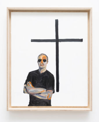 Matteo Fato, Sulla differenza fra genio e apostolo / On the difference between genius and apostle (ritratto di / portrait of Gianni Garrera, Filologo e Traduttore / Philologist and Translator, Roma), 2019 olio su lino / oil on linen, 79 x 97 cm cassa da trasporto in multistrato / case for transport in plywood Courtesy dell'Artista / the Artist & Monitor, Rome - Lisbon - Pereto (AQ)