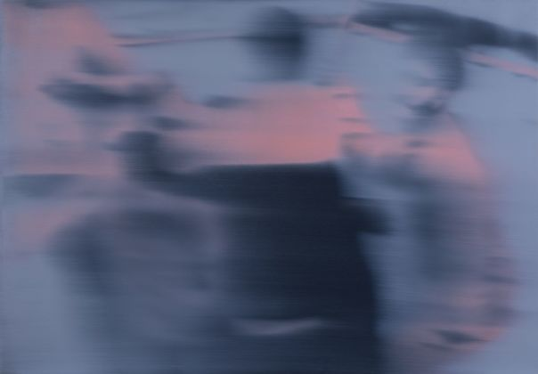 Ettore Pinelli, Blurring motion (rose light), 2018, olio su tela, 70x100 cm. Photo credits Daniele Cascone