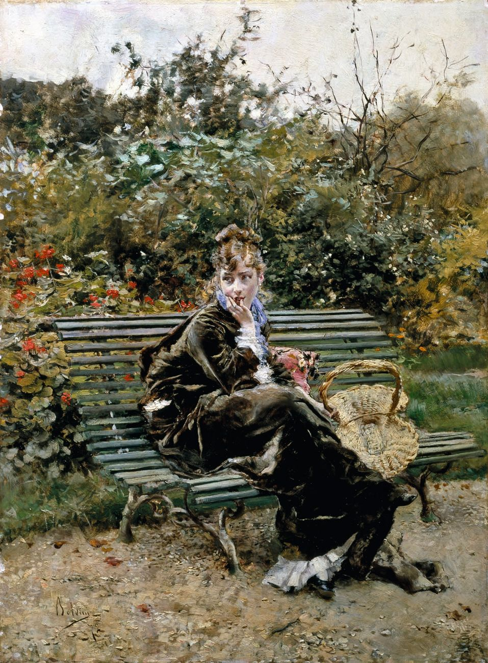 Giovanni Boldini, Sulla panchina al Bois, 1872. Collezione privata