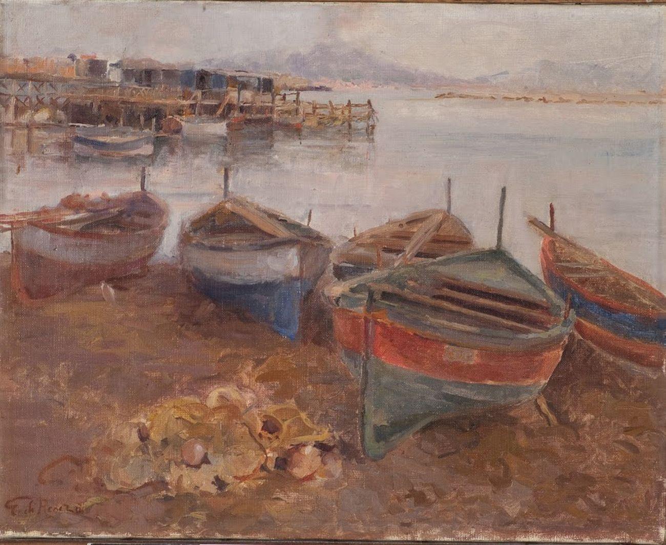Guido Di Renzo, Barche al porto con Vesuvio