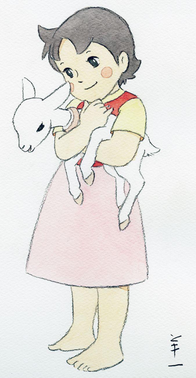 Heidi, creata da Yoichi Kotabe per la mostra al Museo Nazionale di Zurigo. Copyright Museo nazionale svizzero Yoichi Kotabe
