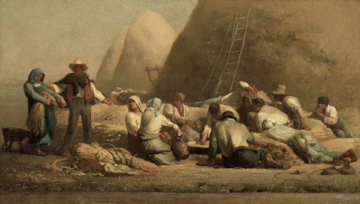 Jean François Millet (1814 1875), 'Harvesters Resting (Ruth and Boaz)', 1850–53, Oil on canvas, 67.3 × 119.7 cm, Museum of Fine Arts, Boston