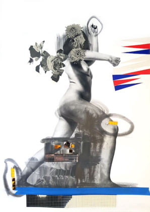 Marinella SENATORE 1977 Can one lead a good life in a bad life? 2019 Fine Art Print on Epson Hot Press paper, mosaic mirror tiles, rope, mouldable graphite, archival images and glass outliner 70 x 50 cm, Copyright the Artist; Courtesy Richard Saltoun Gallery