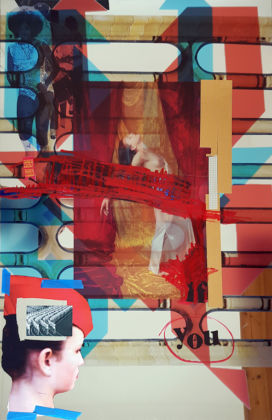 Marinella SENATORE 1977 - Forms of Protes t by oppressed minorities re - emerge from the past , 2019 Mixed media, paint and print on theatrical mirror 120 x 80 cm Copyright the Artist; Courtesy Richard Saltoun Gallery