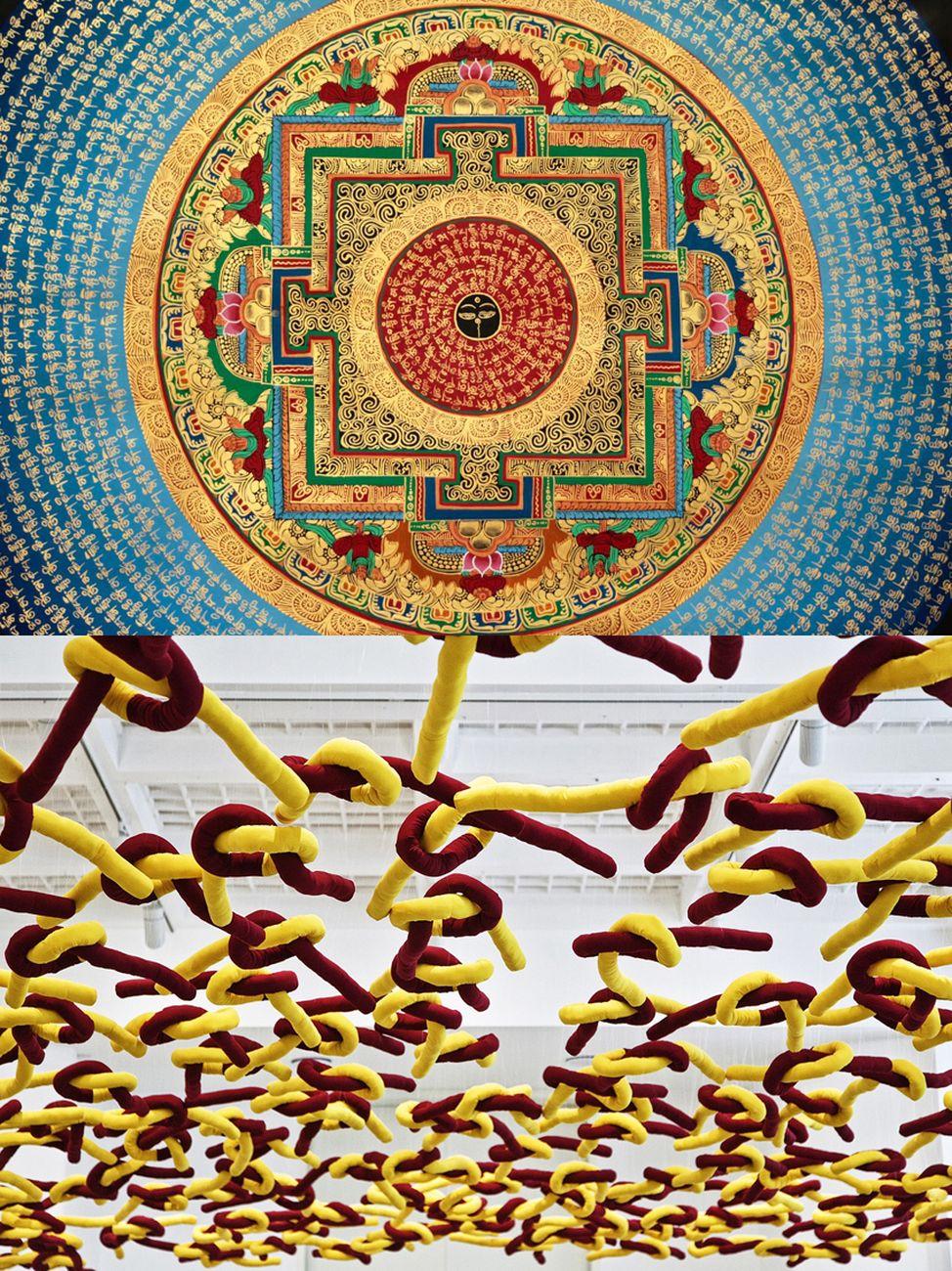 Sopra, un mandala tibetano _ sotto, l'installazione con tuniche di monaci tibetani di Paola Pivi