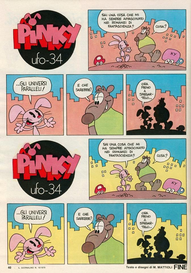 Una tavola di Pinky di Massimo Mattioli, tratta da il Giornalino nº 10 dell'11 marzo 1979