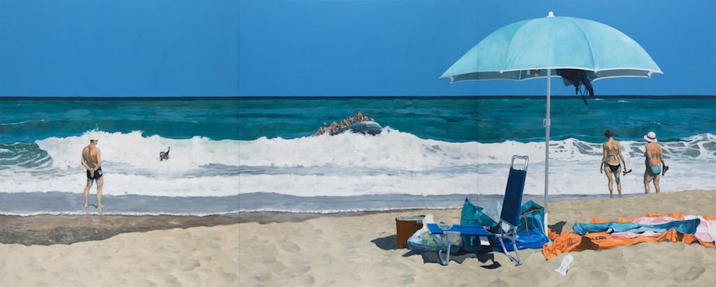 "Michael Kvium, ""Beach of Plenty"", 2017, Photo: Anders Sune Berg, courtesy the artist & Nils Stærk Gallery"