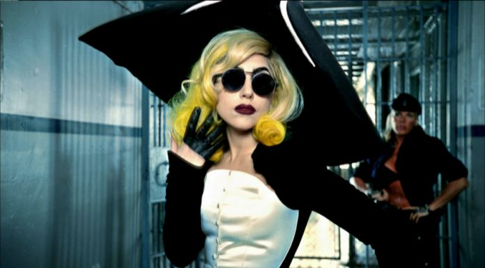 """Lady Gaga in the video for the song """"Telephone"""" (The Fame Monster album), 2010, directed by Jonas Åkerlund. Outfit Thierry Mugler, Anniversaire des 20 ans collection, prêt-à-porter fallwinter 1995–1996"""