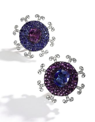 Amethyst, Ceylon sapphire and diamond ear clips, JAR credits Sotheby's