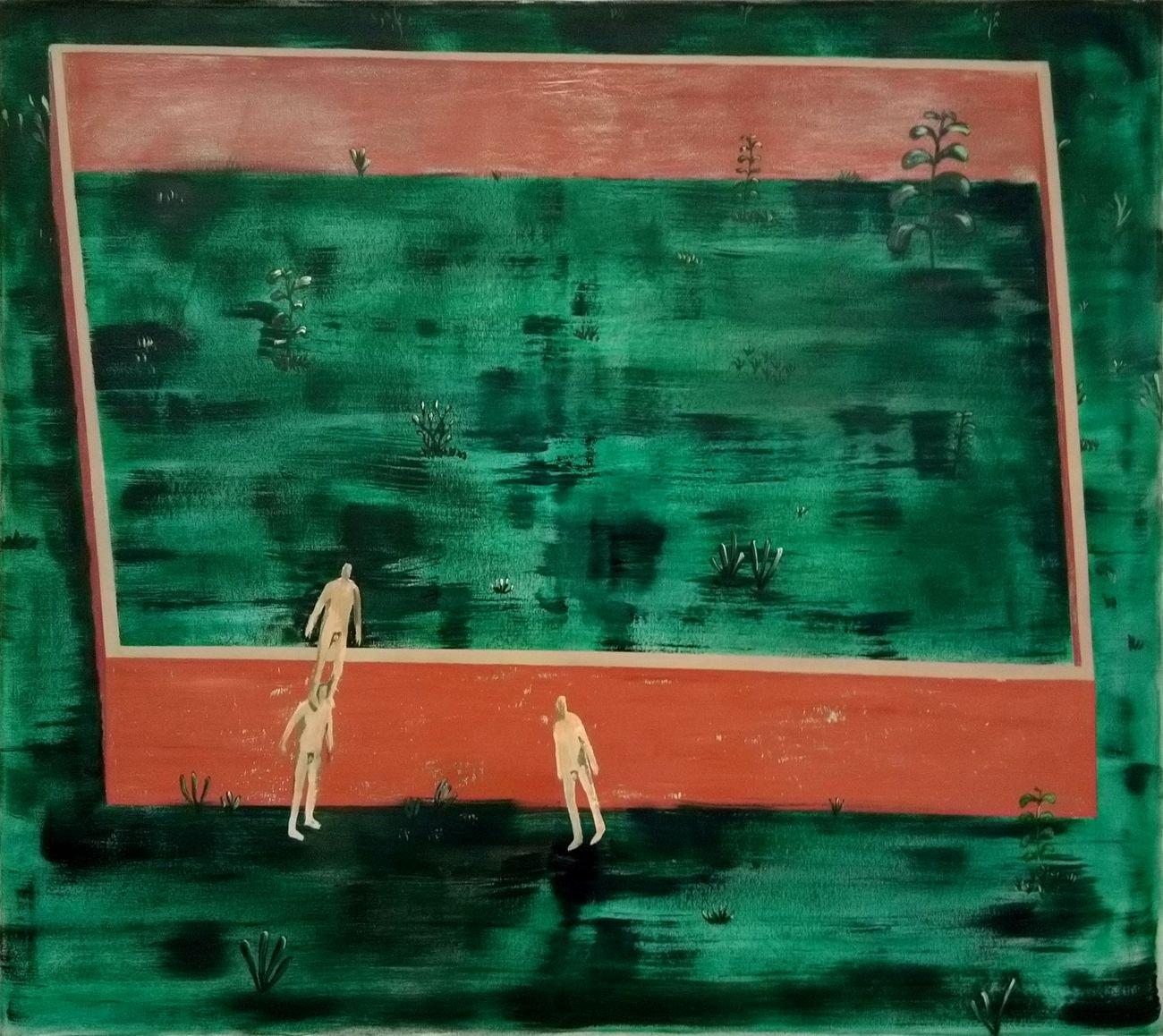 Andrea Barzaghi, Giardino privato, 2018, olio su tela, 110x125 cm