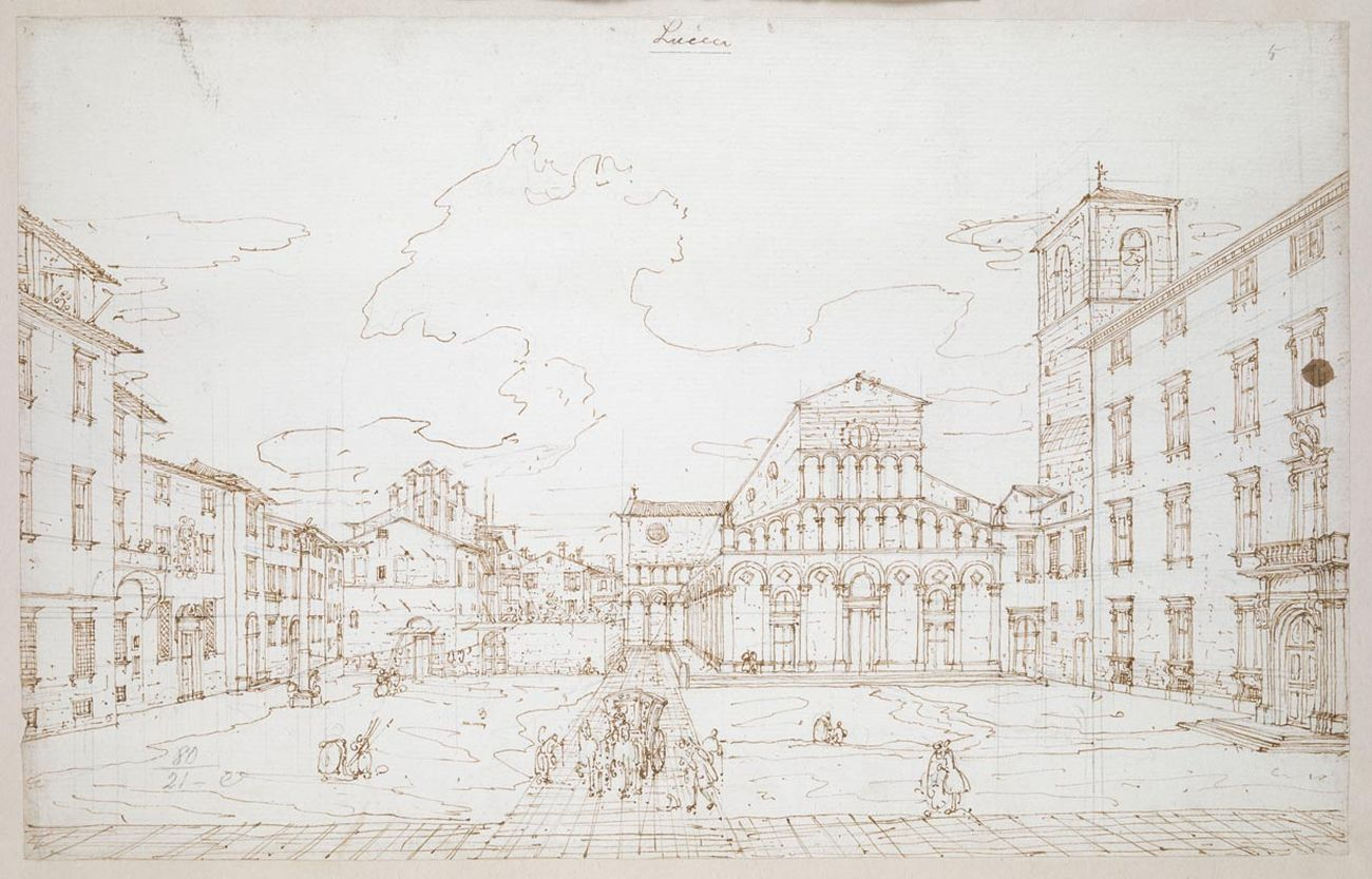 Bernardo Bellotto, Santa Maria Forisportam, Lucca, 1740. Londra, British Library