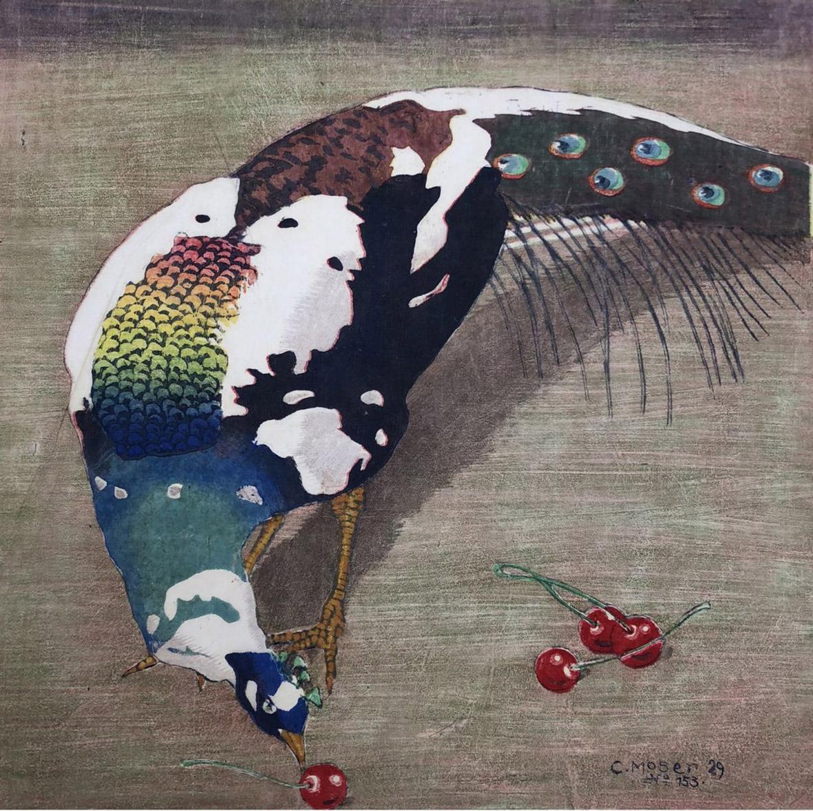 Carl Moser, Pavone con quattro ciliegie, olio su tela, 1929