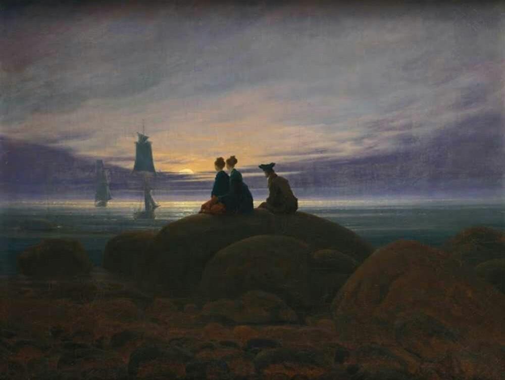 Caspar David Friedrich, Luna nascente sul mare, 1822, 55 x 71, Nationalgalerie, Berlino
