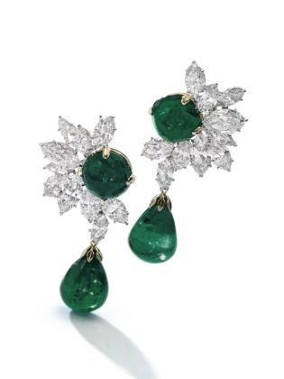 Colombian emerald and diamond earrings, Harry Winston credits Sotheby's