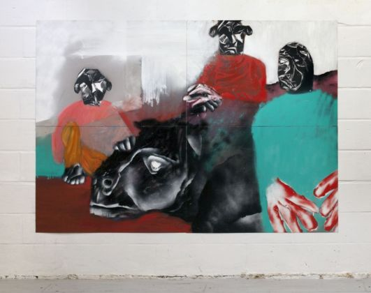 Enne Boi, Hunting, 2014, oil and spray paint on plastic coated paper, 200x140 cm [hung]