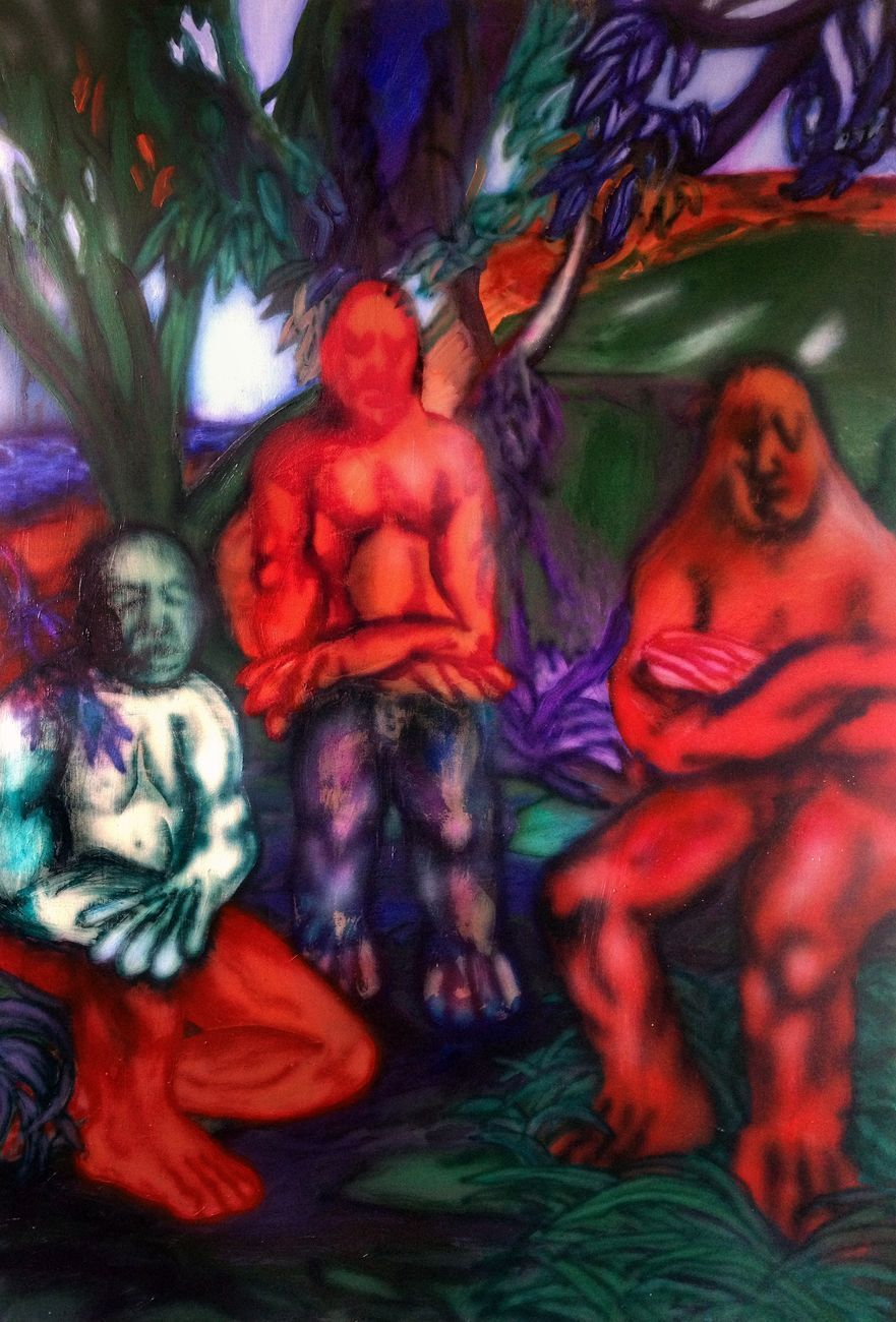 Enne Boi, REBUS (TRES AMIGOS), 2017. Oil and ink on canvas, 177 x 120 cm