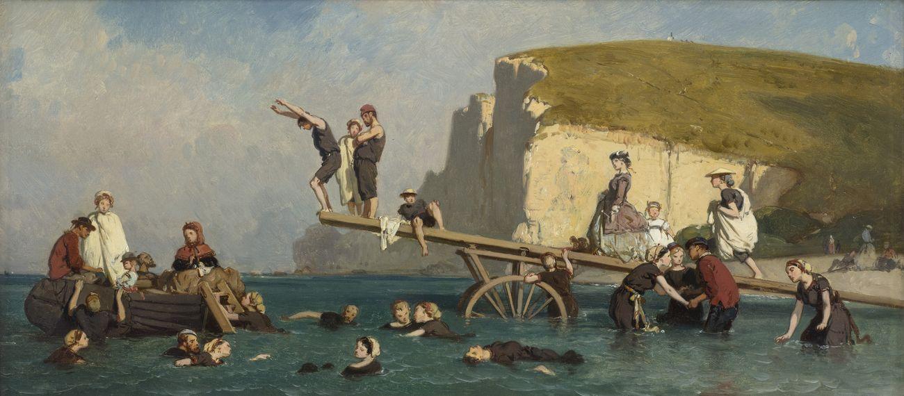 Eugéne Le Poittevin, Bagno a Étretat, 1858 ca. Collection Association Peindre en Normandie, Caen