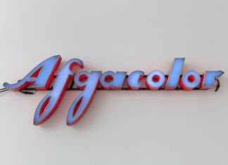 Flavio Favelli, Afgacolor, 2019, assemblage of signs, 55x165x10 cm, photo Andrea Rossetti