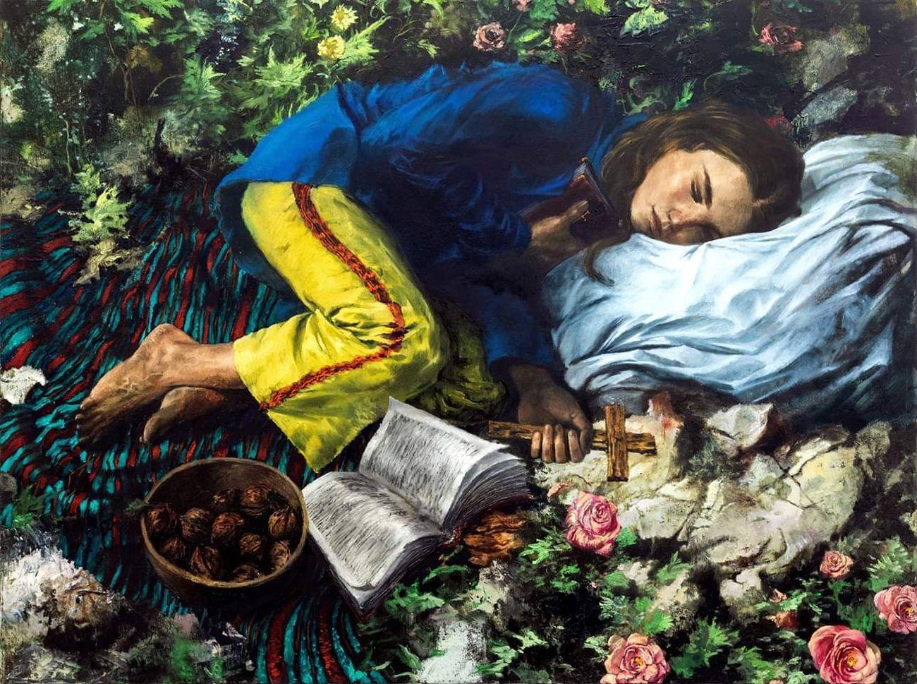 Francesco De Grandi, Il libro, la croce e la rosa, 2019, olio su tela, 90x120 cm. Courtesy Francesco De Grandi e Galleria Annarumma, Napoli