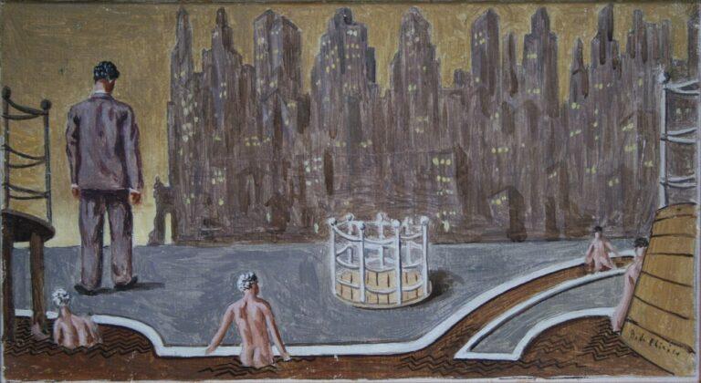 Giorgio de Chirico, Bagni misteriosi a Manhattan, 1936. Collezione Privata Brescia, courtesy Galleria Tega © G. de Chirico by SIAE 2019