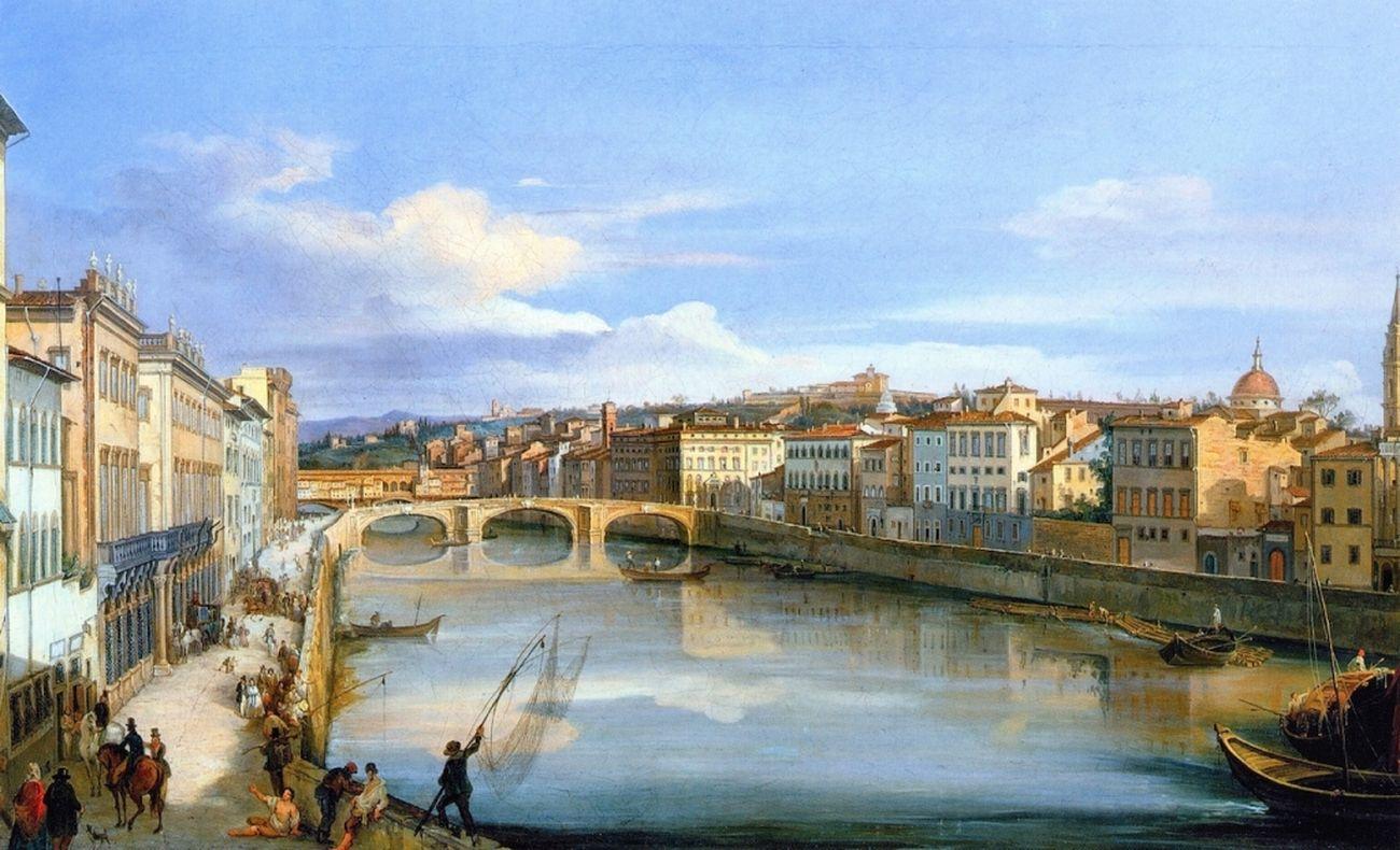 Giovanni Signorini, Veduta dell'Arno da Ponte alla Carraia, 1846