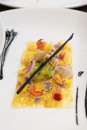Guy Martin, Thinly sliced sea bass, avocado and bamboo shoots goji berries