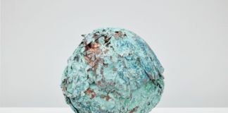 Jay Heikes, Minor Planet, 2017. Ooxidized copper 27 x 25 x 25 cm. Courtesy Jay Heikes and Federica Schiavo Gallery