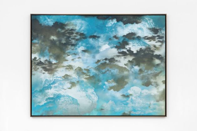 Jay Heikes, Mother Sky, 2019. Oil on stained canvas 147 x 194 x 6,5 cm. Courtesy Jay Heikes and Federica Schiavo Gallery