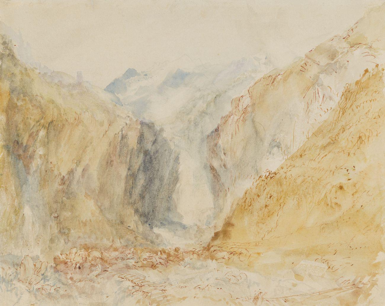 Joseph Mallord William Turner, Veduta della gola di Faido, 1842 ca., olio su tela, MASI Lugano, Collezione Cantone Ticino