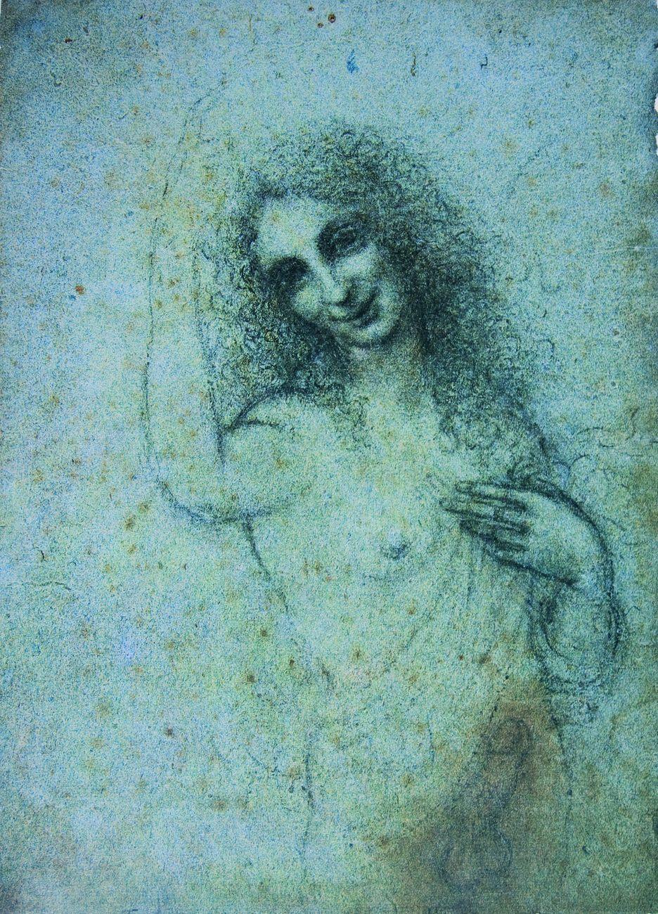 Leonardo da Vinci, Angelo Incarnato, 1513 15 ca., disegno a pietra nera su carta ruvida © Fondazione Rossana e Carlo Pedretti