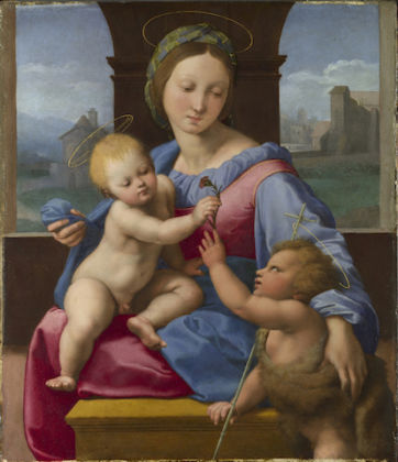 Raphael The Madonna and Child with the Infant Baptist (The Garvagh Madonna) Short title: The Garvagh Madonna about 1509-10 Oil on wood 38.9 x 32.9 cm © The National Gallery, London