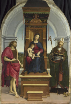 Raphael The Madonna and Child with Saint John the Baptist and Saint Nicholas of Bari ('The Ansidei Madonna') Short title: The Ansidei Madonna 1505 Oil on poplar 216.8 x 147.6 cm © The National Gallery, London