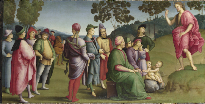 Raphael Saint John the Baptist Preaching 1505 Oil on poplar 26.2 x 52 cm © The National Gallery, London