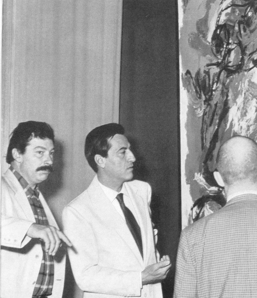 Karel Appel, Paolo Marinotti e di spalle Pierre Alechinsky a Palazzo Grassi, 1969