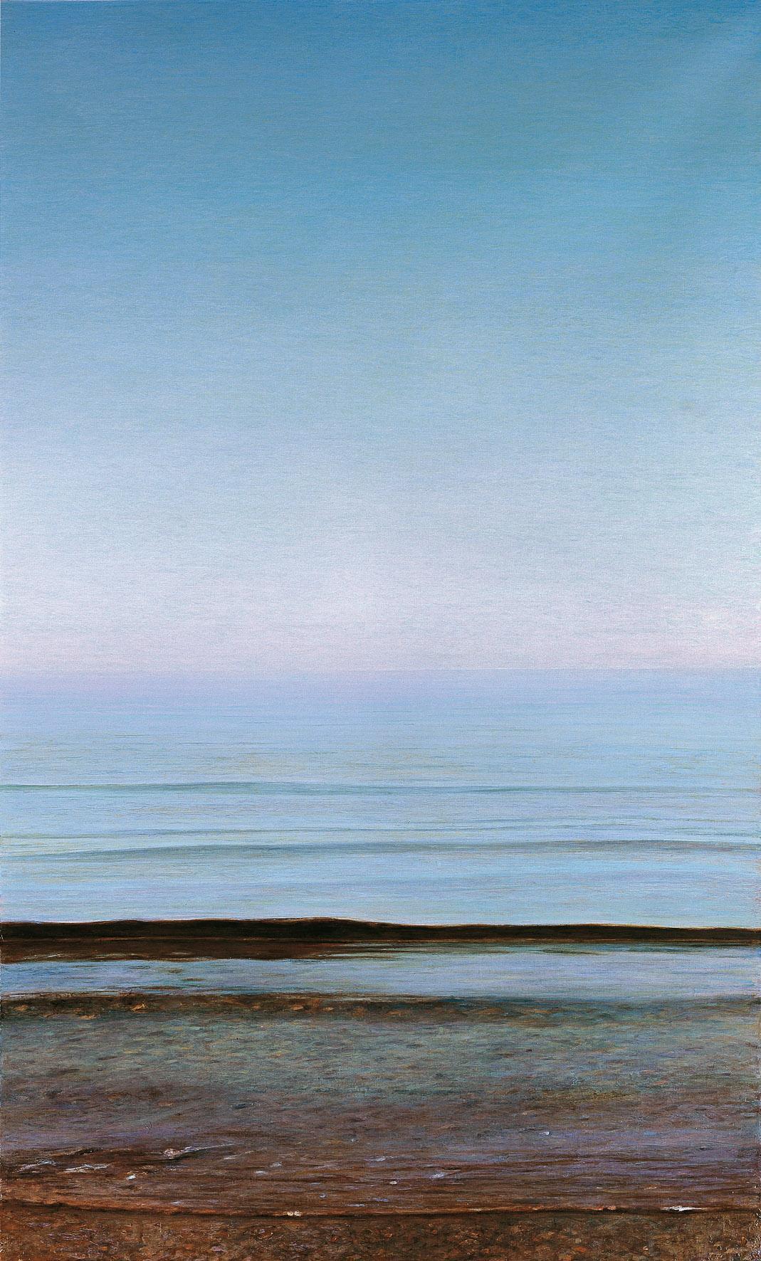 Piero Guccione, Grande spiaggia, 1996 2001, olio su tela, cm 151 x 91,5, collezione privata