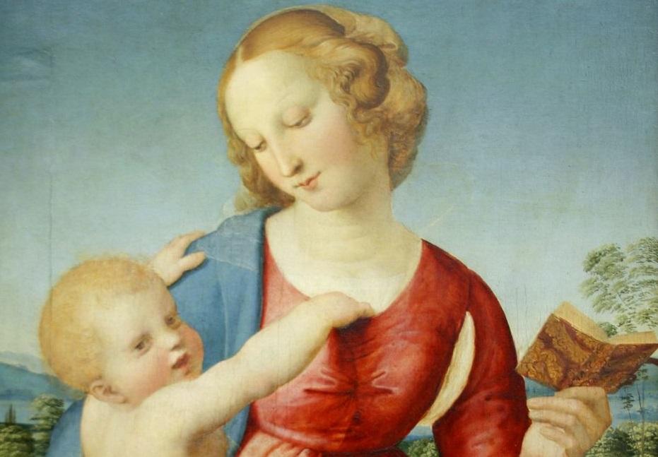 Raffaello Sanzio, Madonna Colonna. Staatliche Museen, Gemäldegalerie, Berlino, dettaglio