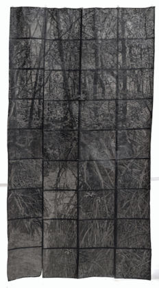 Marta Roberti, Il fondo sale alla superficie senza cessare di essere fondo (mangrovia I) [The bottom rises to the surface without ceasing to be the bottom (mangrove I)], 2019; drawing on copying paper covered with graphite; 190 x 98 cm; courtesy the artist. Photo Giorgio Benni