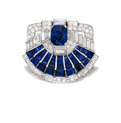 Sapphire and Diamond Brooch clip, Cartier, 1937 credits Sotheby's