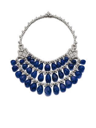 Sapphire and diamond necklace Bulgari credits Sotheby's