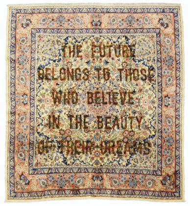 Loredana Longo, Carpet # 27- The future belongs to those who believe in the beauty of their dreams 2019 burning on Mehraban carpet, 295x250 cm © Loredana Longo courtesy Sahrai Milano/London , Galleria Francesco Pantaleone Palermo/MIlan